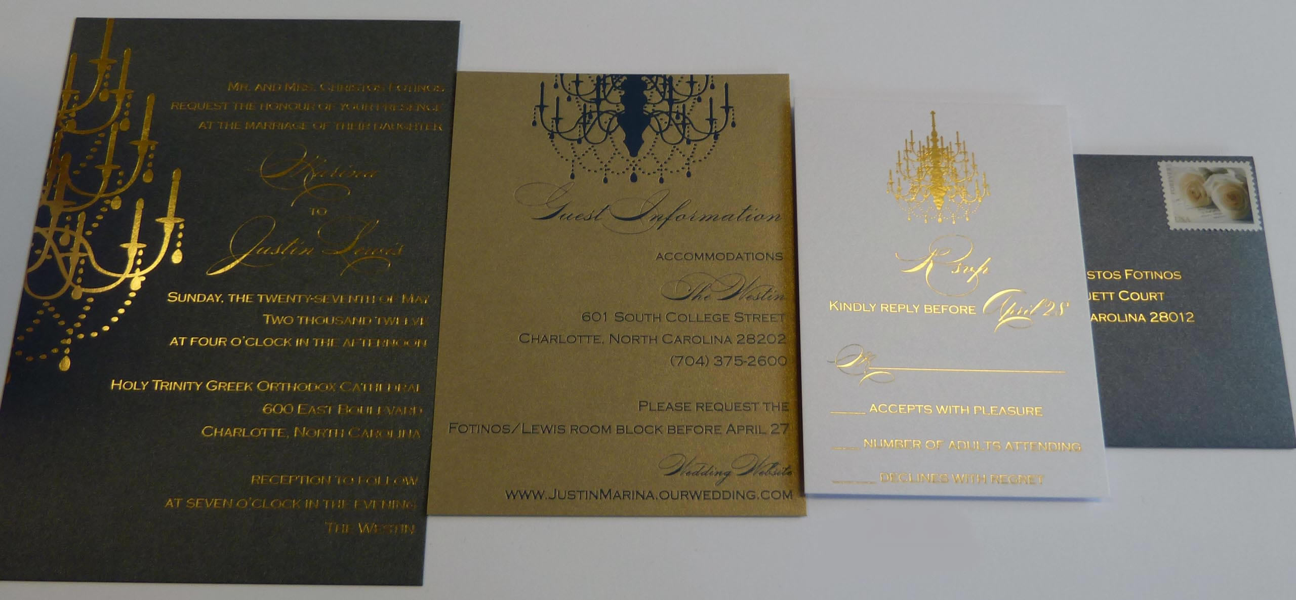 Gold Foil Stamped Wedding Invitations: Hot Foil Printing Services London